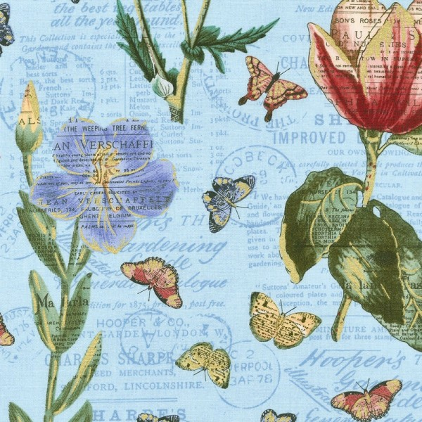 """Bomuld """"Bookshelf Botanical"""" Botanical Aqua Metallic"""