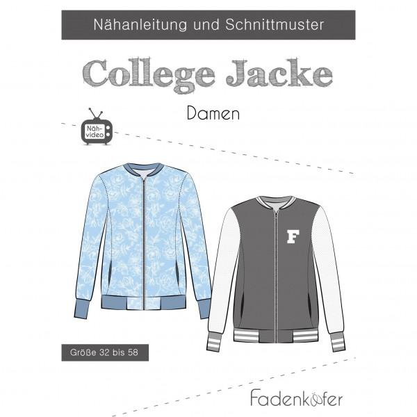 "Snitmønster Dame ""College Jacke"" str 32 - 58"