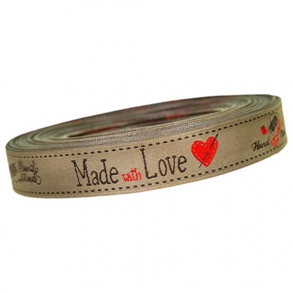 """Vævet bånd kollektion """"Made with Love"""" 18 mm"""
