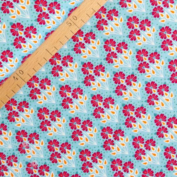 Bomuldsjersey Flora Buket lyseblå