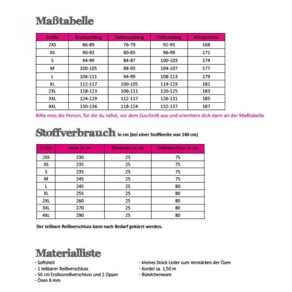 Snitmønster Herre-Softshell-Jakke str 2 XS - 4 XL
