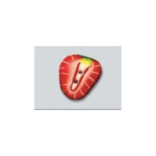 "14 mm 2-Hul-Knap ""Jordbær"""