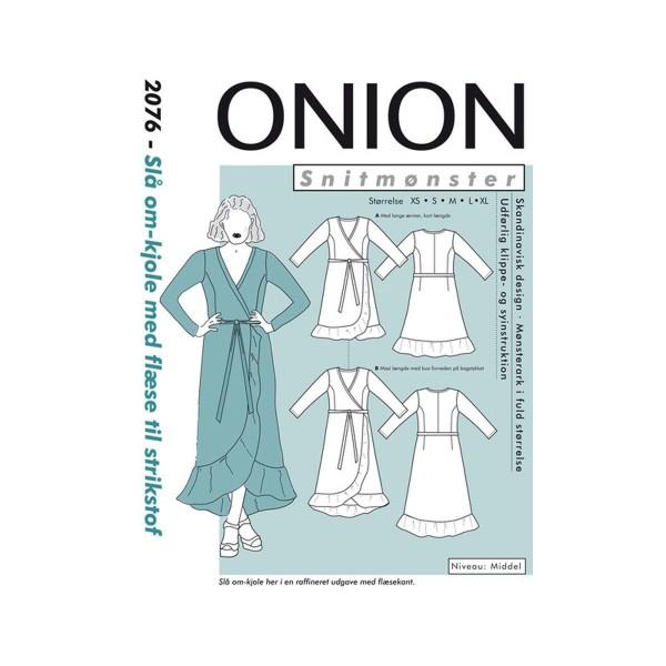 "Snitmønster Onion 2076 ""Slå om-kjole med flæse..."