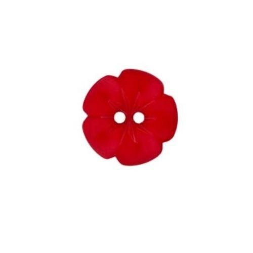 """2-hul-polyester-knap kollektion """"Blomster"""" (15 mm)"""