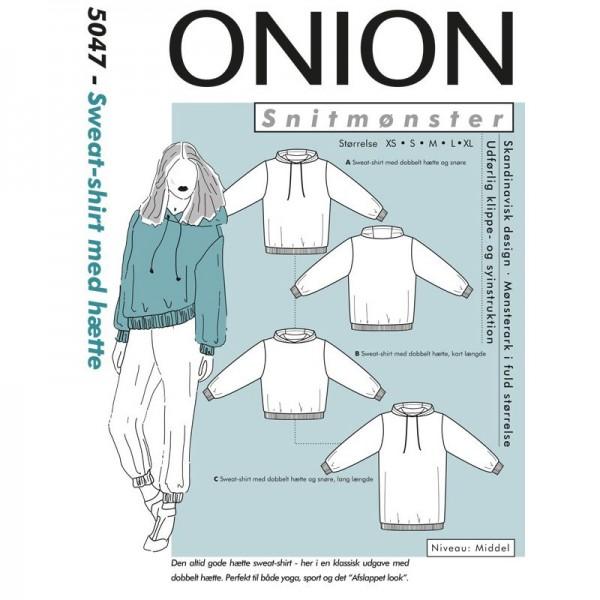 """Snitmønster Onion 5047 """"Sweat-shirt med hætte""""..."""