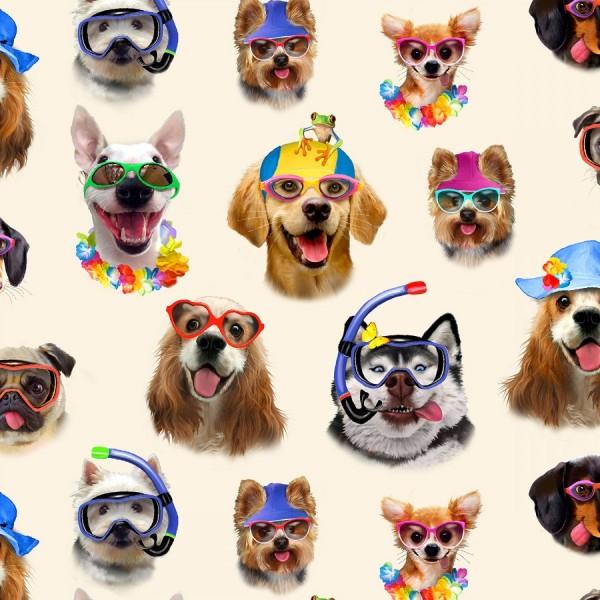 """Bomuld """"Hunde med briller - cream"""" by Howard..."""