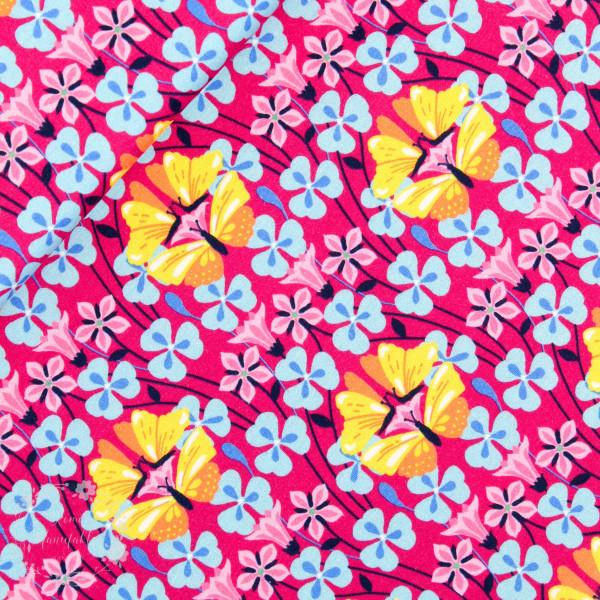 "Bomuldsjersey ""Flora Sommerfugl"" pink"