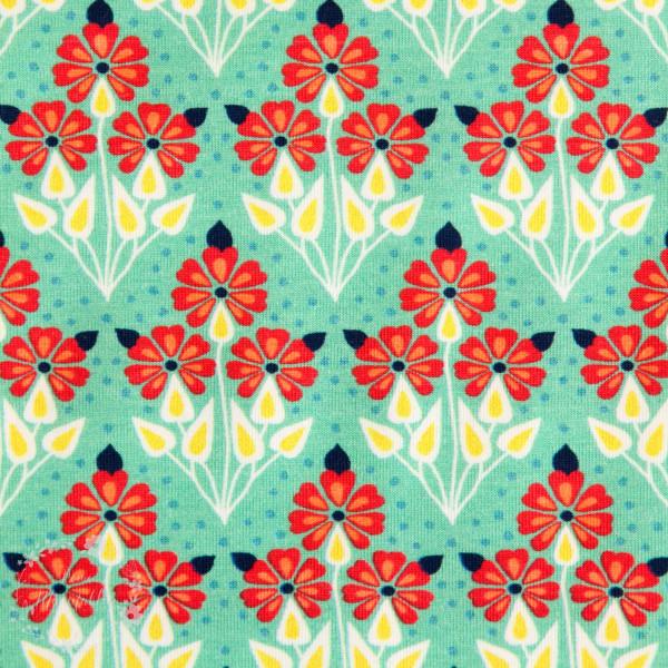 Bomuldsjersey Flora Buket grøn