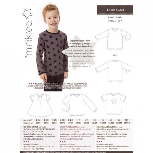 """MiniKrea Snitmønster 50220 """"T-Shirt"""" str 0 - 10 Y"""