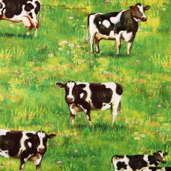 """Bomuld """"Down on the farm - køer"""" by Robert Kaufmann"""