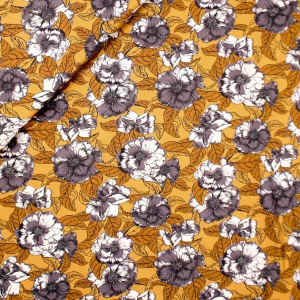 Vævet Viscose brun med blomster