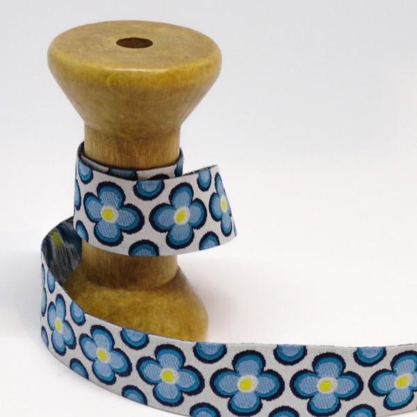 """15 mm Vævet bånd """"Florets"""" blå-hvid"""