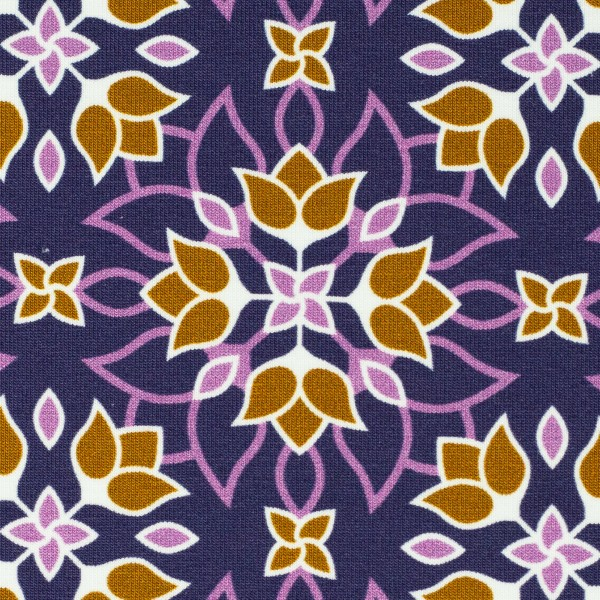 """Bomuldsjersey """"Floral Ornaments"""" by Lycklig Design lilla"""