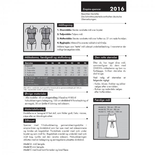 "Snitmønster Onion 2016 ""Empire-spencer"" str 34 - 46"