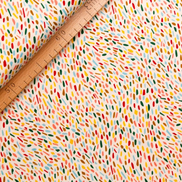 "BIO-Interlock-Bomuldsjersey ""Happy Spots multi"" fra Birch Fabrics"