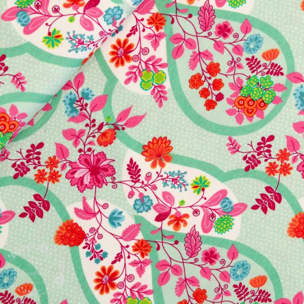 Bomuldsjersey Flora Blomsterdråber mint