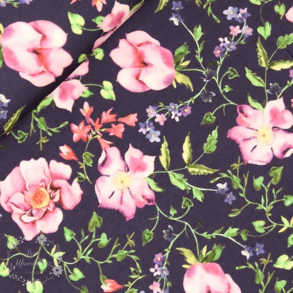 "Bomuldsjersey ""Wild roses"""