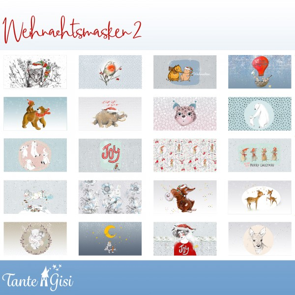 """100 cm BIO-Bomuld-Panel """"Weihnachtsmasken 2""""..."""