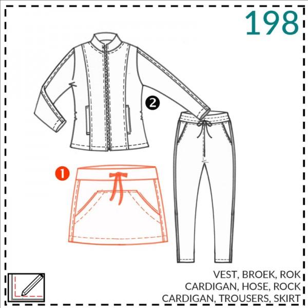 """Snitmønster """"Abacadabra 198"""" cardigan, nedderdel og bukser str 92-176"""