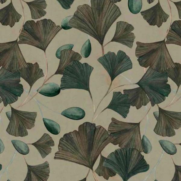 "Designer Bomuldsjersey ""Leaves and berries"" grøn"