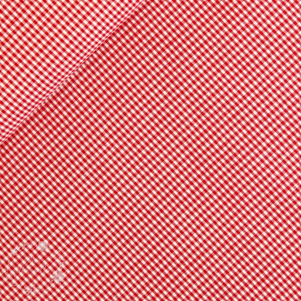 Bomuld rød/hvid ternet