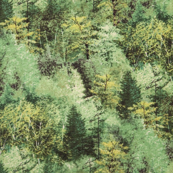 """Bomuld """"Hidden Valley - Trees Green Yardage"""" by Kevin Daniel"""