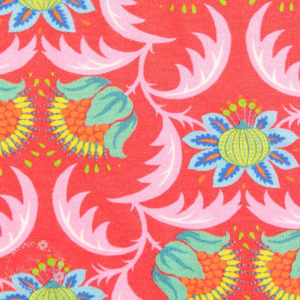 Bomuldsjersey Flora Blomsterduet rød