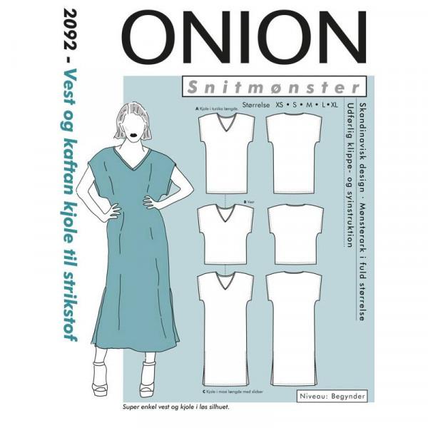 """Snitmønster Onion 2092 """"Vest og kaftan kjole..."""