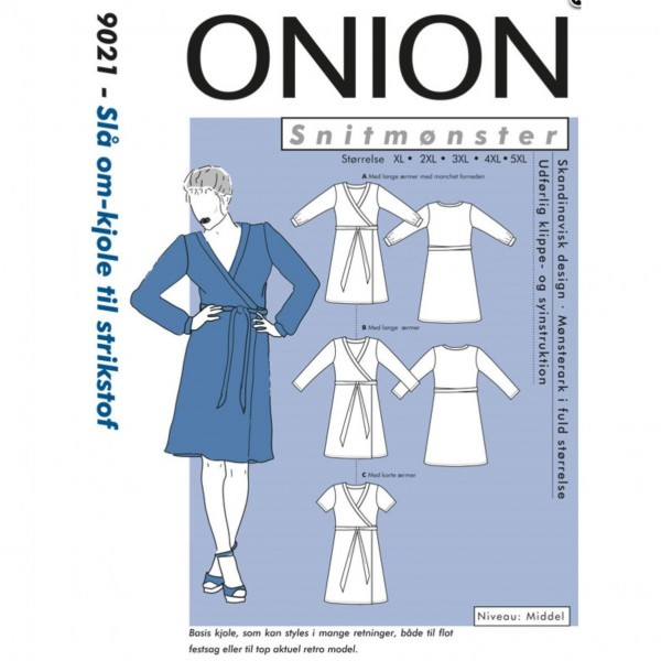 "Snitmønster Onion 9021 ""Slå om-kjole til strikstof"" str XL - 5 XL"