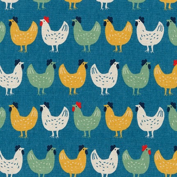 "Cotton flax prints ""Chickens on blue "" by Robert Kaufman"