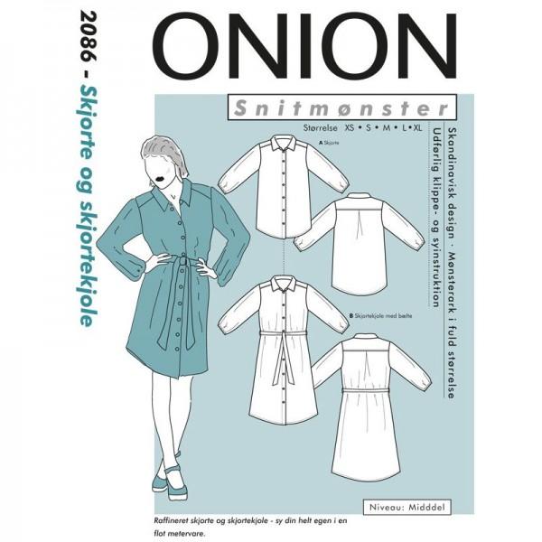 """Snitmønster Onion 2086 """"Skjorte og skjortekjole"""" str XS - XL"""