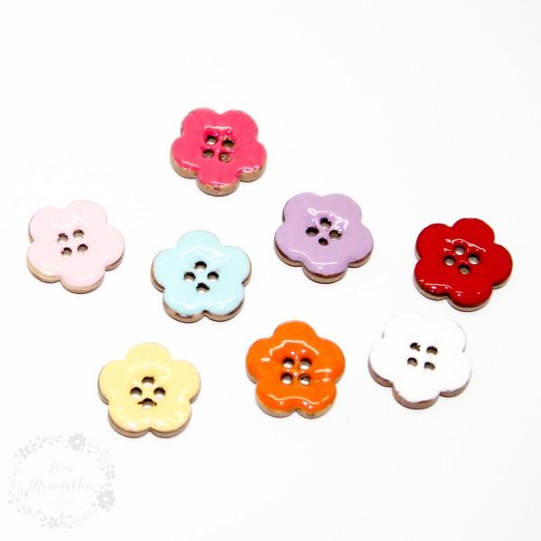 "4-hul-kokos-knap kollektion ""Blomster"" (18 mm)"