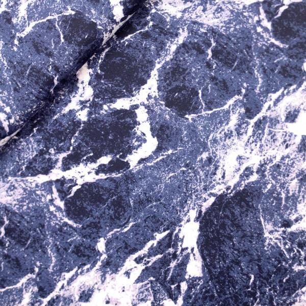 """French Terry """"Jette"""" marble mørkeblå"""