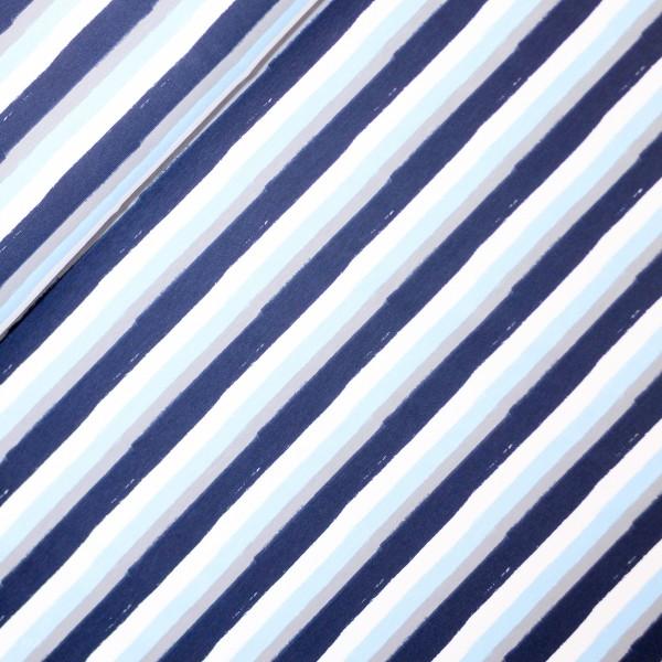 Bomuldsjersey med striber hvid, lyseblå, grå og mørkeblå