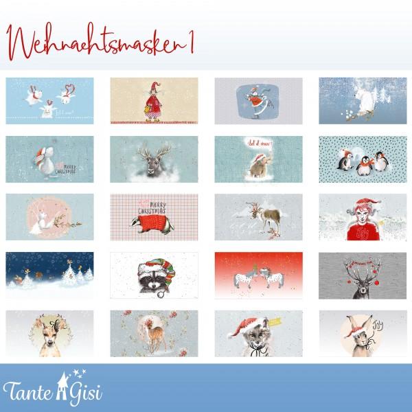 "100 cm BIO-Bomuld-Panel ""Weihnachtsmasken 1"" fra Tante Gisi"