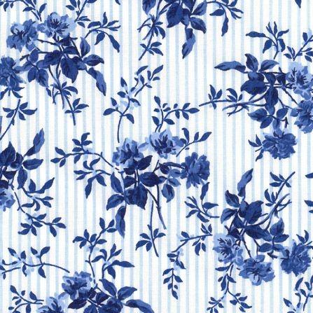 """Bomuld """"Delft"""" hvid med blomster og striber"""