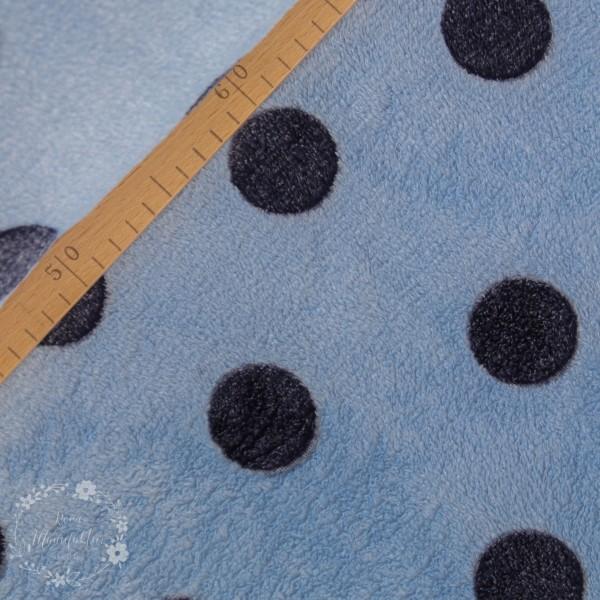 Flanell Fleece blå med prikker