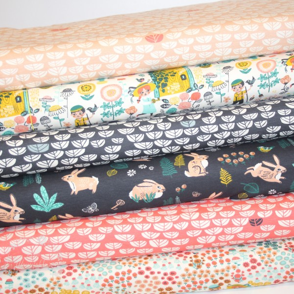 "BIO-Interlock-Bomuldsjersey ""Hidden Garden"" fra Birch Fabrics"
