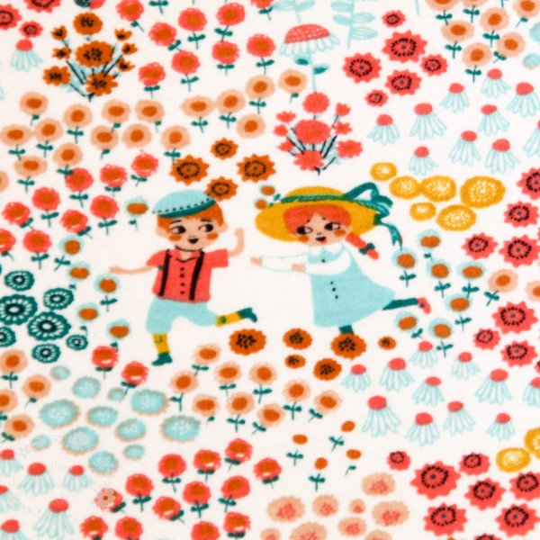 "BIO-Interlock-Bomuldsjersey ""Hidden Garden Knit - kmi16cre"" fra Birch Fabrics"