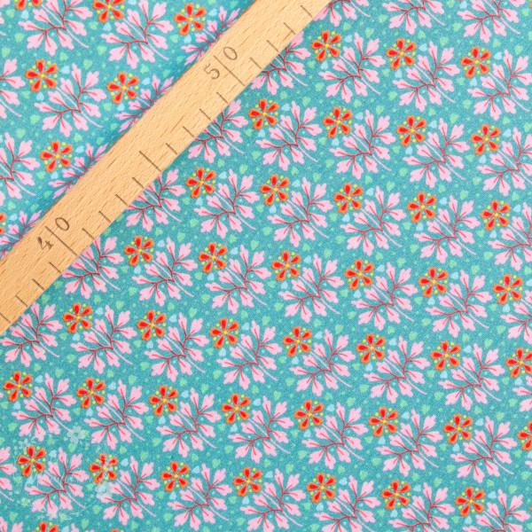 Bomuldsjersey Flora Blomster 2 grøn