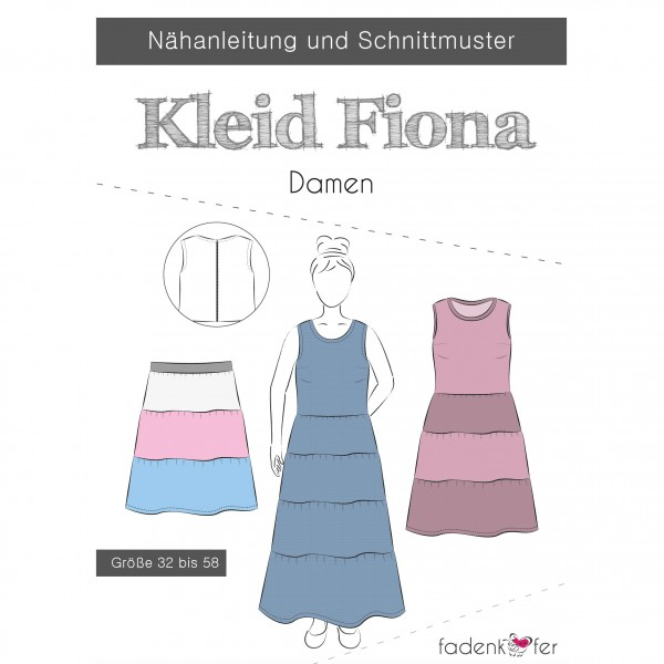 "Snitmønster Dame-Kjole ""Fiona"" str 32 - 58"
