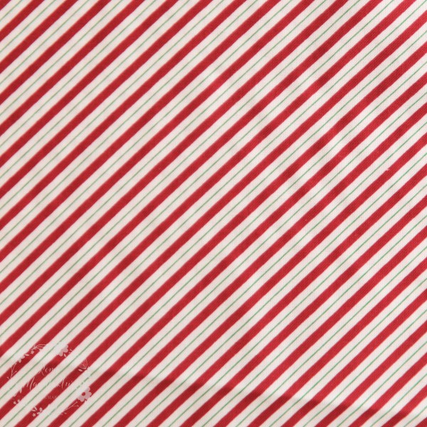 "Bomuld ""Holly Hill Christmas - Candy Cane Stripe White"""