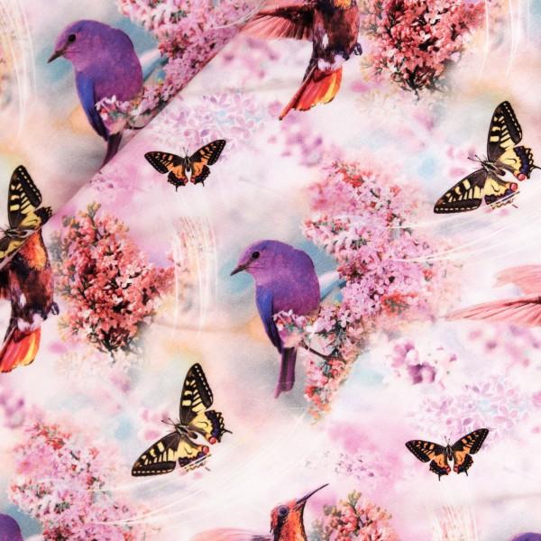 """Bomuldsjersey """"Fugle og sommerfugle"""""""