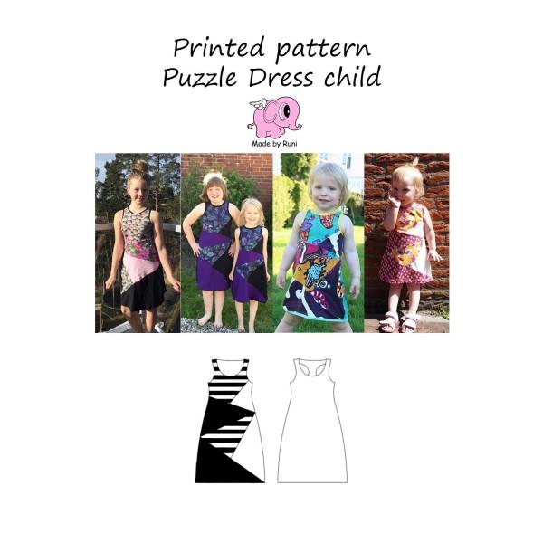 """Snitmønster til børn """"Puzzle Dress"""" str 80 - 164"""