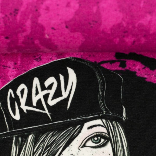 """75 cm French Terry-Panel """"Urban Girl pink"""" by Thorsten Berger"""