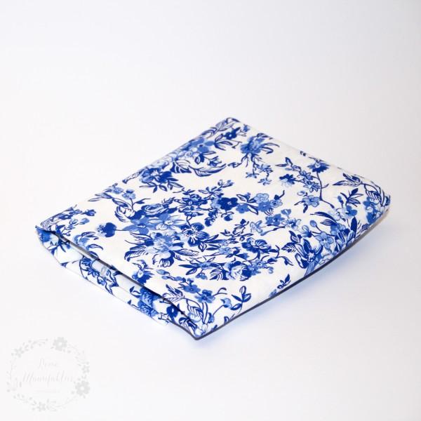 """70 cm Bomuld """"Delft"""" hvid med blomster"""