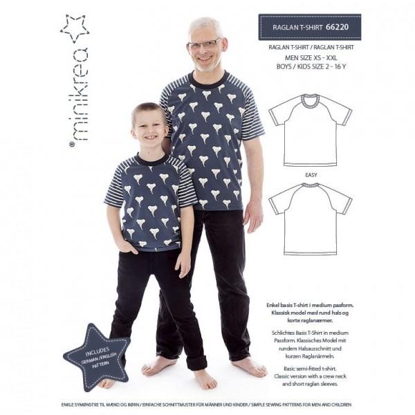 """Snitmønster minikrea 66220 """"Raglan T-Shirt"""" str..."""