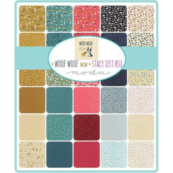 "Fat Quarter Bundle ""Woof Woof Meow"" fra moda"