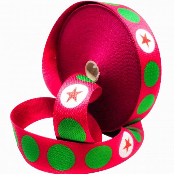 Gjordbånd pink med grøn prikker og stjerne