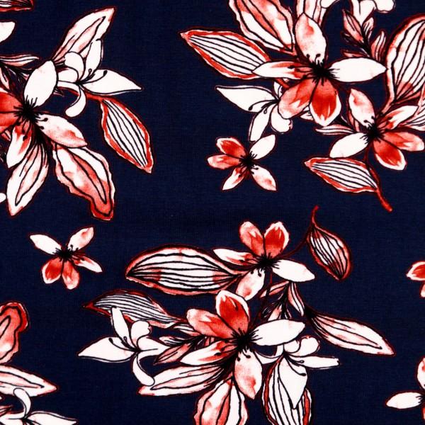 """Bomuldsjersey """"Avalana"""" 19-198 - røde blomster"""